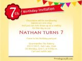 Birthday Invitation Message 7th Birthday Party Invitation Wording Wordings and Messages