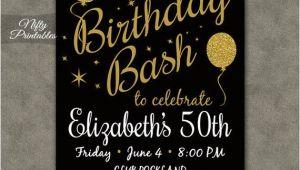 Birthday Invitation Template Black and Gold Printable Birthday Invitations Black Gold Glitter 20 21 30th