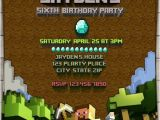 Birthday Invitation Template Minecraft Minecraft Birthday Invitation Digital Printable File