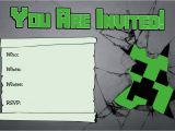 Birthday Invitation Template Minecraft Novel Concept Designs Free Minecraft Creeper Inspired