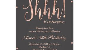Birthday Invitation Template Rose Gold Rose Gold Surprise Birthday Party Invitation Zazzle Com