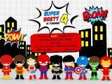 Birthday Invitation Template Superhero Greygrey Designs My Parties Brett 39 S Superhero 4th