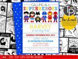 Birthday Invitation Template Superhero Superhero Party Invitation Instant Download Superhero