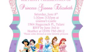 Birthday Invitation Templates Disney Princess 5×7 ornate Disney Princess Birthday Invitation Front Back