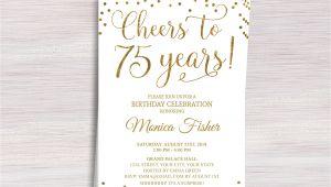 Birthday Invitation Templates Etsy Editable 75th Birthday Party Invitation Template Cheers to