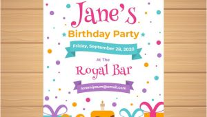 Birthday Invitation Templates Vector Free Download Birthday Invitation Template In Flat Style Vector Free
