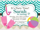 Birthday Invitation with Dress Code Pool Party Invitation Teal Chevron and Tan Argyle Beach