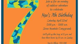 Birthday Invitation Wording for 7 Year Old Boy Birthday Boy Camo 7th Birthday Invitations