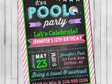 Birthday Invitation Wording for Teenage Party Pool Party Birthday Invitation Girl Teen Pool Party Beach