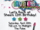 Birthday Invitation Wording for Teenage Party Rock Star Birthday Party Invitation Girl Teen Hip Hop