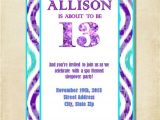 Birthday Invitations 14 Year Old Party Girl 13th Birthday Party Invitation Purple Aqua by