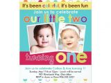 Birthday Invitations for Twins First Birthday Colorful Fun Twins First Birthday Invitation