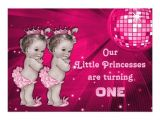 Birthday Invitations for Twins First Birthday Princess Twins Pink Disco Ball 1st Birthday 5×7 Paper