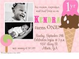 Birthday Invite Wording for 1 Year Old 1 Year Old Girls Ice Cream Party Invitation so Cute