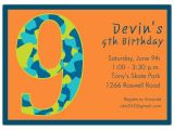 Birthday Invite Wording for 8 Year Old 9 Year Old Birthday Invitation Wording