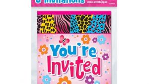 Birthday Party Invitations at Walmart Wild Birthday Invitations 8pk Walmart