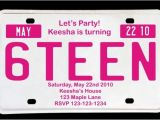 Birthday Party Invitations for 16 Year Old Boy Sweet 16 License Plate Birthday Invitation Magenta