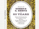 Birthday Party Invitations for 60 Year Old 60th Birthday Invitation for Men Cheers & Beers to 60 Years
