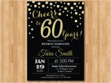 Birthday Party Invitations for 60 Year Old 60th Birthday Invitation Gold Glitter Cheers to 60 Years