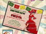 Birthday Party Invitations Spanish Pinup Birthday Invitation Feista Mexican Spanish Party Pin Up