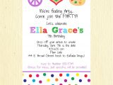 Birthday Party Invite Wording Drop Off Painting Party Invitation Wording Art Birthday Party