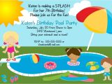 Birthday Pool Party Invitation Ideas Bear River Greetings Pool Party Birthday Invitation