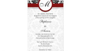Black and Burgundy Wedding Invitations Black Burgundy Damask Monogram Wedding Invitation Zazzle