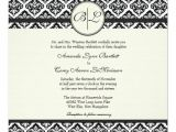 Black and Cream Wedding Invitations Black and Cream Monogram Damask Wedding Invitation Zazzle
