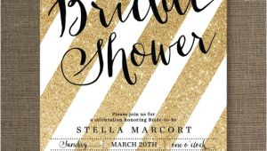 Black and Gold Bridal Shower Invitations Black & Gold Bridal Shower Invitation Glitter Stripes Metallic