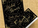 Black and Gold Bridal Shower Invitations Black and Gold Bridal Shower Invitation Gold by Chromopaperie