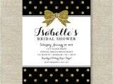 Black and Gold Bridal Shower Invitations Black and Gold Glitter Bow Bridal Shower Invitation Polka Dot