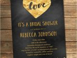 Black and Gold Bridal Shower Invitations Gold and Black Bridal Shower Invitation Gold Foil Love