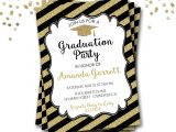 Black and Gold Graduation Party Invitations Black and Gold Graduation Invitation Gold Graduation