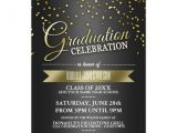 Black and Gold Graduation Party Invitations Black Gold Confetti Graduation Party Invitations Zazzle