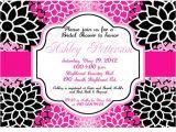 Black and Pink Bridal Shower Invitations Bridal Shower and Wedding Invitations