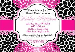 Black and Pink Bridal Shower Invitations Bridal Shower and Wedding Invitations