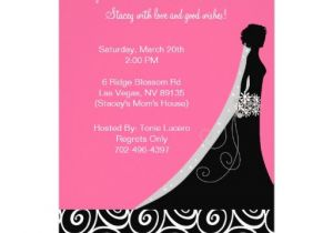 "Black and Pink Bridal Shower Invitations Bridal Shower Invitations In Hot Pink and Black 5"" X 7"