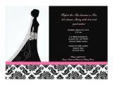 Black and Pink Bridal Shower Invitations Bridal Shower Invitations In Pink and Black Damask