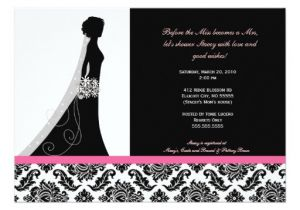 Black and Pink Bridal Shower Invitations Bridal Shower Invitations In Pink and Black Damask