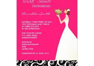 "Black and Pink Bridal Shower Invitations Hot Pink and Black Bridal Shower Invitations 5"" X 7"