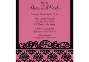 "Black and Pink Bridal Shower Invitations Pink & Black Damask Bridal Shower Invitation 5"" X 7"