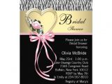 "Black and Pink Bridal Shower Invitations Pink Zebra Black Gold Zebra Bridal Shower 5"" X 7"
