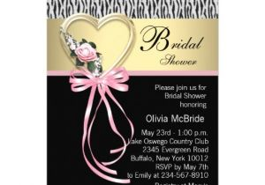 "Black and Pink Bridal Shower Invitations Pink Zebra Black Gold Zebra Bridal Shower 5"" X 7"
