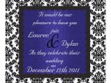 Black and Royal Blue Wedding Invitations Damask Black White Royal Blue Wedding Invatation 5 25×5