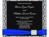 Black and Royal Blue Wedding Invitations Royal Blue Black Silver Lace Wedding Invitation Zazzle