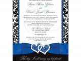 Black and Royal Blue Wedding Invitations Wedding Invitation Optional Photo Royal Blue White
