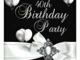 Black and White 40th Birthday Party Invitations 40th Birthday Party Black White Silver Balloons 5 25×5 25