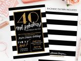 Black and White 40th Birthday Party Invitations Adults Only Birthday Black and White Stripe Shower