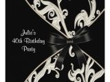 Black and White 40th Birthday Party Invitations Black White Swirl Womans 40th Birthday Party Invitation