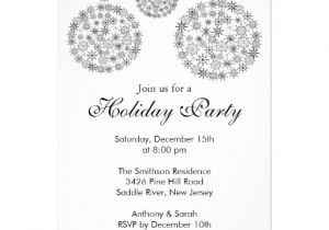 Black and White Christmas Party Invitations Elegant Black White Holiday Christmas Party 5×7 Paper